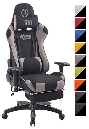 CLP Poltrona Gaming Massaggiante Turbo XFM in Stoffa I Sedia Racing Ergonomica Riscaldabile con Massaggio + 2 Cuscini E Poggiapiedi, Colore:Nero/Grigio