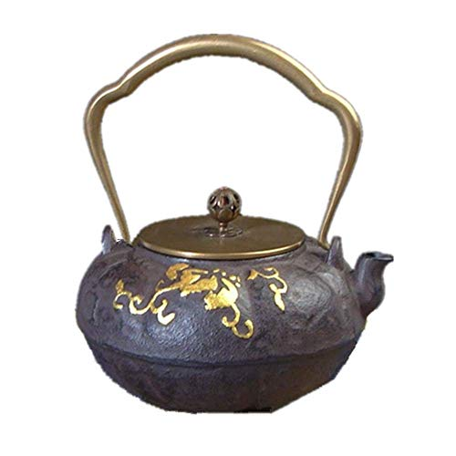 Teapot Handmade Kettle Teapot Uncoated Sand Iron Tea Pot,Retro Design,Upscale Atmospheric Gift,1300ml (Color : Brown, Size : 1300ml)