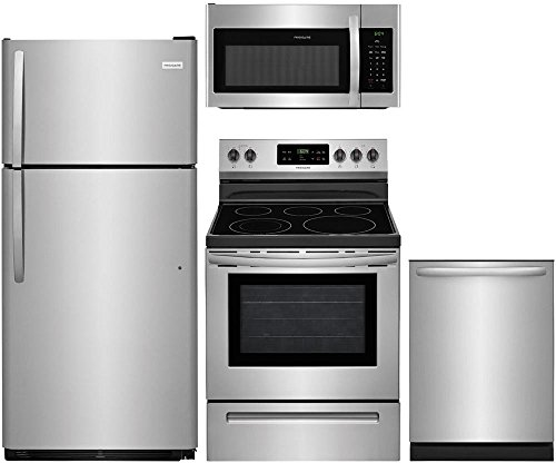 Frigidaire 4-Piece Stainless Steel Kitchen Package with FFTR1821TS 30'' Top Freezer Refrigerator FFEF3054TS 30'' Freestanding Electric Range FFID2426TS 24'' Fully Integrated Dishwasher and FFMV1645TS 30'' Over-the-Range Microwave