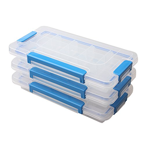 BangQiao Adjustable Plastic Divider Storage Box Container for Bead, Button, Small Parts,15 Grids, Pack of 3, Clear