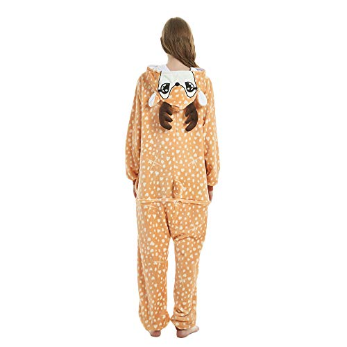 Kika Monkey Pijama disfraz de unicornio para adultos de franela, tipo mono jirafa large