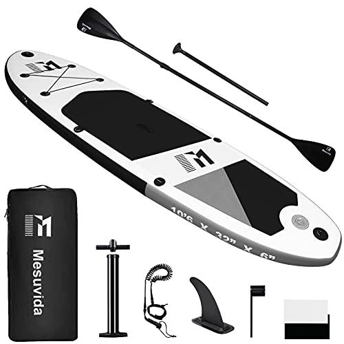 Mesuvida Tabla de SUP de material ecológico libre de PVC 6P, hinchable, con doble remo, conexión Go Pro y accesorios completos, modo kayak, soporta hasta 160 kg, 320 x 81 x 15 cm