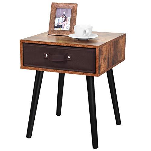 COSTWAY Nachttisch mit Abnehmbarer Schublade, Nachtkommode Vintage, Nachtschrank aus Holz, Nachtkonsole, Flurtisch, Ablagetisch, Telefontisch für Wohnzimmer, Schlafzimmer oder kleinen Raum