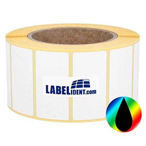Labelident Inkjet Etiketten auf Rolle - 80 x 60 mm - 1000 Papier Etiketten für Primera, Epson Drucker 3 Zoll, hochglänzend, selbstklebend, beschichtet
