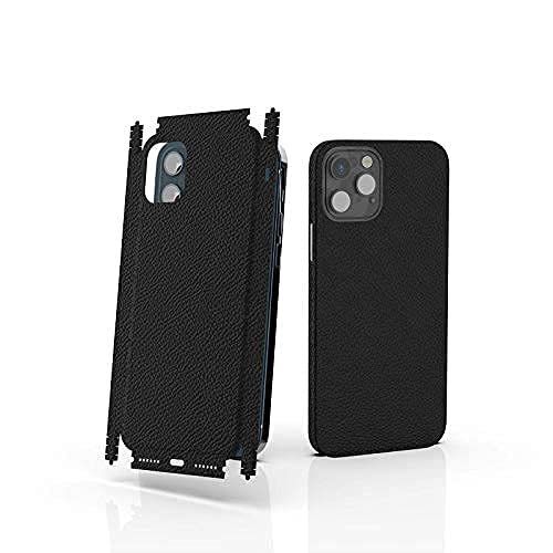 Mr. Lei Wrap Skin Sticker for iPhone 12 Pro Max-Black, Anti-Scratch Dust-Proof Cover, Durable Ultra-Thin Fine Leather Back Film