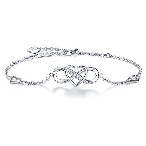 "Women 925 Sterling Silver Infinity Bracelet – Billie Bijoux ""Forever Love"" Infinity Heart White Gold Plated Diamond…"