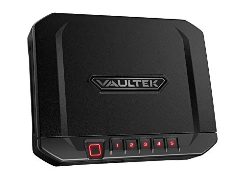 Vaultek 10 Series Lightweight Handgun Bluetooth Smart Safe Pistol Safe with Auto-Open Lid and Rechargeable Battery (Not Compatible with Smart Key) (Biometric) (Black)