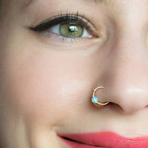 Wrapped Septum Ring Gold 18 Gauge Hoop Tribal Nose Piercing