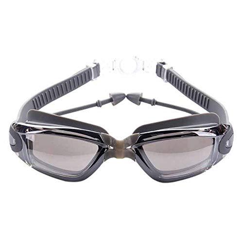 Cfilet Silicona Profesional de la natación Anti-vaho Gafas UV Que nadan los vidrios con Auricular Hombres Mujeres Agua Deportes Gafas (Color : Gray)