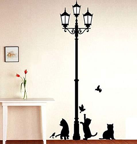 PMSMT Popular lámpara Antigua Gatos y pájaros Pegatina de Pared Mural de Pared decoración del hogar habitación calcomanías para niños Papel Tapiz
