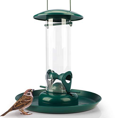 WILDLIFE FRIEND | Columna de alimentación con plato de alimentación XL – Comedero para pájaros para colgar con espacio de acogida, estación de alimentación para pájaros silvestres durante todo el año