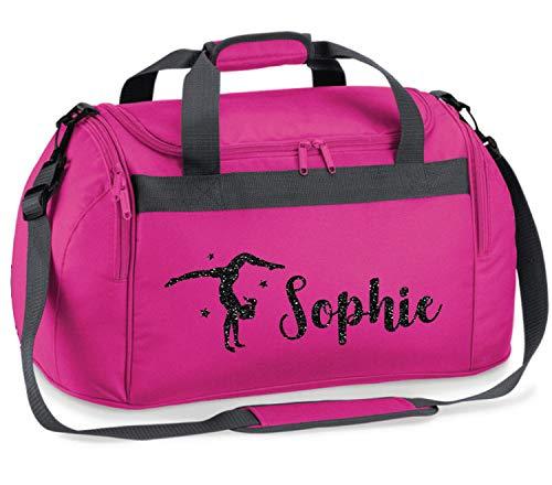 Absolutely Top Kinder Sporttasche für Gymnastik, personalisierbar, glitzernd, Bubblegum Pink/Schwarz Glitzer Print, 54cm x 28cm x 25cm