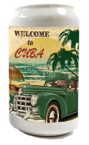 LEotiE SINCE 2004 Spardose Sparbüchse Geld-Dose Wiederverschließbar Farbe Weiß Urlaub Reisebüro Kuba Keramik Bedruckt