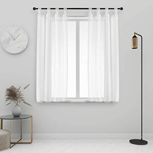 GIRASOLE Par de cortinas de gasa, transparentes, efecto lino, para salón, dormitorio, balcón, ventana e interior, 2 paneles con trabillas (blanco, 70 x 150 cm)