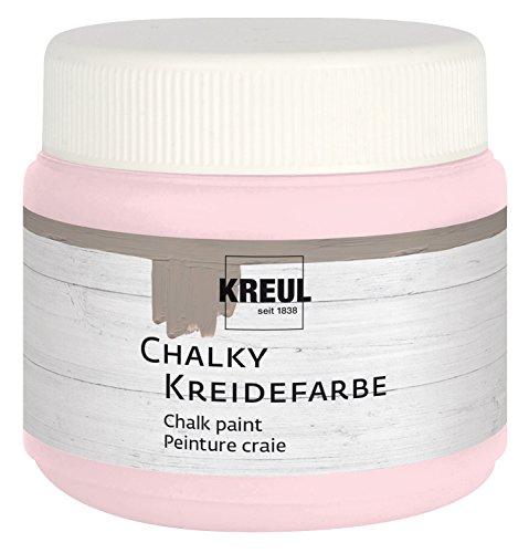 Kreul 75313 - Chalky Kreidefarbe, sanft - matte Farbe, cremig deckend, schnelltrocknend, für Effekte im Used Look, 150 ml Kunststoffdose, Mademoiselle Rosé