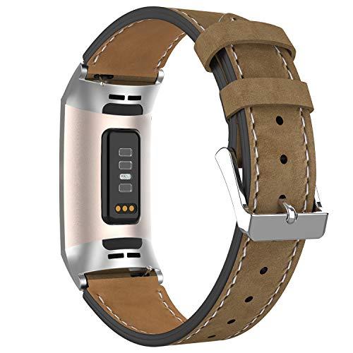 AdePoy - Pulsera de Piel para Fitbit Charge 3, clásica y auténtica, Ajustable, Compatible con Fitbit Charge 3 y Charge 3, edición Especial, Marrón Claro Mate.