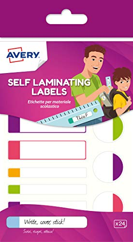 Avery Self Laminating Labels, waterproof name labels, lunchbox labels, water bottle labels, school labels, 86 x 17 mm, 24 Labels Per Pack, Neon Colours