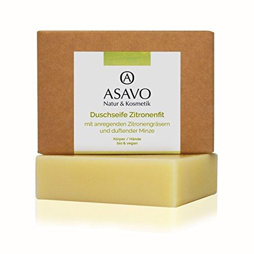 ASAVO Premium Naturseife Zitronenfit BIO, handgeschöpfte Naturseife, mit Bio-Karitébutter & dem Duft von Zitronengras & Minze, vegan, Clean Beauty, 95g