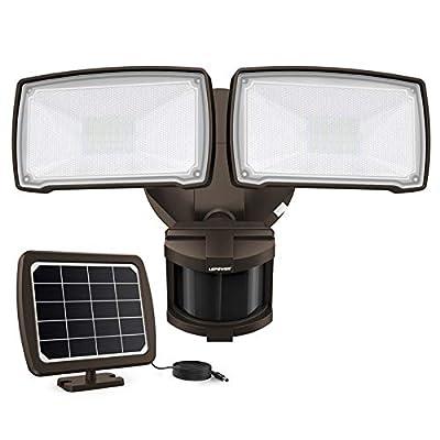 LEPOWER 1000LM Solar LED Security Lights Outdoor, 2 Adjustable Head Solar Motion Sensor Light, 5500K White Light, IP65 Waterproof Solar Flood Light for Garage, Yard, Patio(Brown)