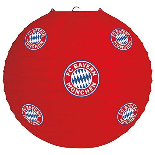 Amscan 9906517 - FC Bayern München Lampion, 1 Stück, Größe 20 cm, Farbe: Blau, Weiß u. Rot, aus Papier, mit Bayernlogo, perfekt als Dekoration für die Fan-Party oder das Fußballfest