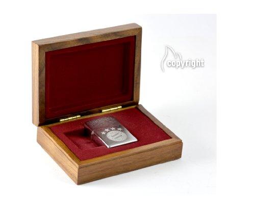 Zippo Bayern München chrome brushed Luxus Geschenkset / Holzbox