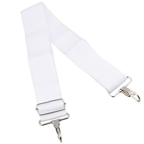 Yibuy 1.97inch Wide White Nylon Adjustable Snare Drum Sling Strap Belt Marching Percussion Accessory