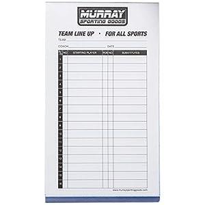 Murray Sporting Goods Baseball/Softball Lineup Cards - 30 Games with 16 Player Lineup