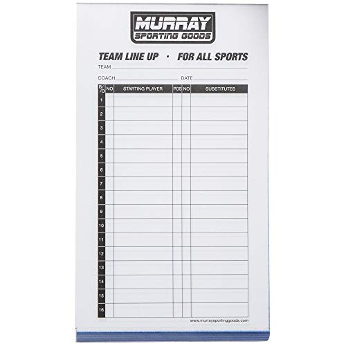 Murray Sporting Goods Baseball/Softball Lineup Cards - 30 Games with 16 Player Lineup