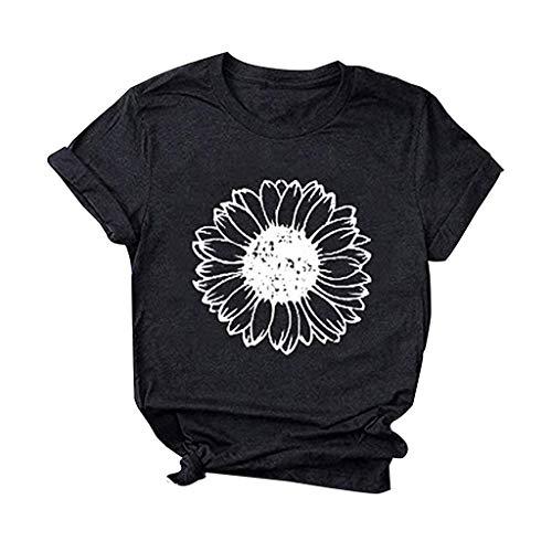 Camiseta feminina de girassol, manga curta, gola redonda, estampa divertida de verão, camiseta casual, Preto, M