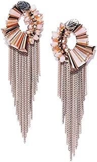Jewels Galaxy 18k (750) Luxuria Stone Gold Plated and Emerald Tassel Earrings for Women & Girls