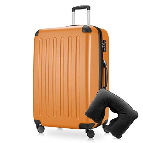 Hauptstadtkoffer - Spree Hartschalen-Koffer-XL Koffer Trolley Rollkoffer Reisekoffer Erweiterbar, 4 Rollen, TSA, 75 cm, 119 Liter, Orange inkl. Reise Nackenkissen
