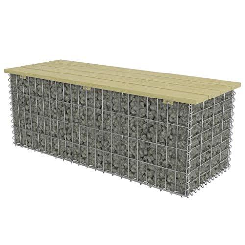 mewmewcat Gabionen Sitzbank Gartenbank aus Gabionen Bogengabione mit Sitzfläche Parkbank 120 x 40 x 45 cm Silbern