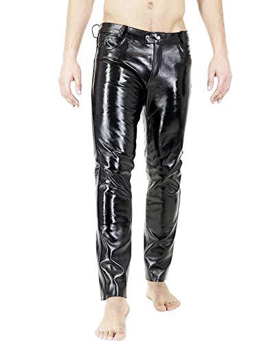 Bockle® Russian Leather Boy Lederhose Herren Leder Jeans Tube Röhre Skinny Slim Fit Herren, Size: 34W / 36L