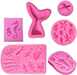 Silicone Marine Fondant Mold, Seashell, Mermaid Tail, Seaweed, Coral,Seahorse,Sea Turtle,Fish DIY Handmade Baking Tools for Mermaid Theme Party Cake Decoration