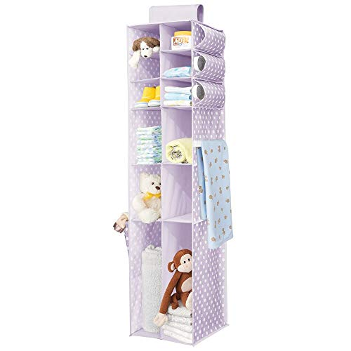 mDesign Long Soft Fabric Over Closet Rod Hanging Storage Organizer with 12 Divided Shelves, Side Pockets for Child/Kids Room or Nursery, Store Diapers, Wipes, Lotions, Toys - Purple/White