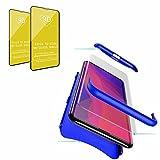 Jtailhne Compatible con Funda Vivo U20, 360° 3 in 1 Slim Hard PC Carcasa Anti-Scratch, a Prueba de Choque Full-Protección Case Azul & 2X Cristal Templado