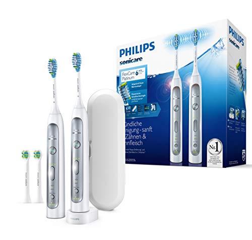 Philips Sonicare HX9114/37 FlexCare Platinum Elektrische Zahnbürste mit Schalltechnologie, Doppelpack, weiß