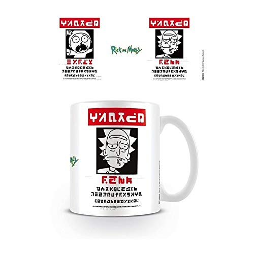 Pyramid Rick and Morty Wanted Coffee Mug Taza, Porcelana, multicolor