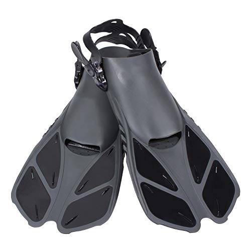Diveitone Snorkel Fins, Short Swim Fins Swimming Flippers with Adjustable Strap for Women Men Swimming Diving and Snorkeling, Pefect for Travel (Black, L/XL)