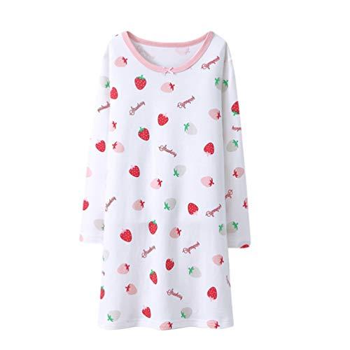 YuanDian Mädchen Nachthemd Lange Ärmel Herbst Winter Drucken Warm Weich 100% Baumwolle Kinder Nachtkleid Pajama Teenager Schlafen Schlafanzug Weiß 120