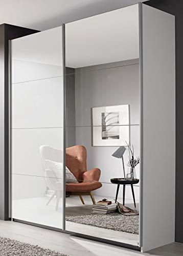 Rauch Möbel Schwebetürenschrank weiß Hochglanz 2 Türen B 181 cm Jugendzimmer Schlafzimmer Wäscheschrank Spiegelschrank Schiebetürenschrank