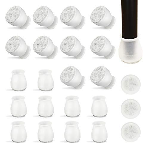 Sedia Gamba Tappi 24 Pezzi, Silicone Piedini Protettivi per Sedie e Gambe di Tavoli Arredamento 35-40MM Gambe Rotonde