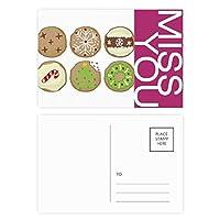 サークルのクリスマスツリーの緑のイラスト ポストカードセットサンクスカード郵送側20個ミス