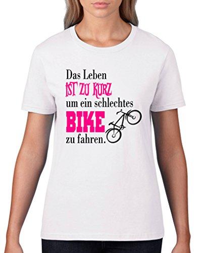 Comedy Shirts - Das Leben ist zu kurz um EIN schlechtes Bike zu Fahren - Damen T-Shirt - Weiss/Schwarz-Pink Gr. XXL