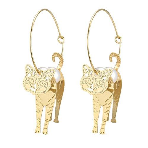 Pu ran, orecchini da donna eleganti ad effetto, ad anello grande con perle sintetiche e ciondolo a forma di gatto, di colore oro