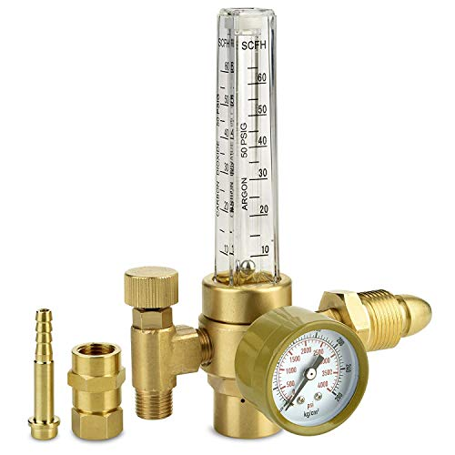 Argon CO2 Regulator - Welding Gas Flowmeter For TIG MIG - Brass Construction Flow Meter For Argon and CO2 Welder Tanks CGA580