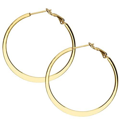 MYA art Damen Creolen Runde Ringe hängend mit Stecker Edelstahl Gold Gelbgold Vergoldet Große Ohrringe Rund Groß Flach 3cm MYAGOOHR-43-30mm