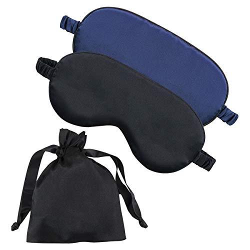 Dsaren 2 Piezas Máscara de Sueño Seda Antifaz Dormir Suave Máscara Noche con Bolsa Almacenamiento para Hombre Mujer Siesta Viaje Regalo San Valentín (2 Piezas)