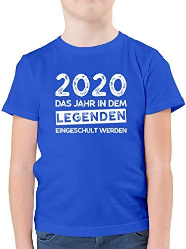 Einschulung und Schulanfang - 2020 Das Jahr in dem Legenden eingeschult Werden - 128 (7/8 Jahre) - Royalblau - Geschenke zur Einschulung - F130K - Kinder Tshirts und T-Shirt für Jungen