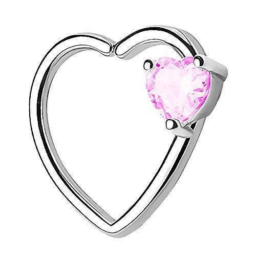Piercingfaktor Continuous Piercing Ring Herz mit Kristall Stein für Tragus Helix Ohr Cartilage Knorpel Ohrpiercing Silber Pink Links
